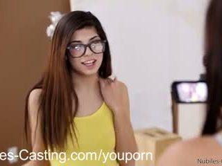 brunette, blowjob, glasses