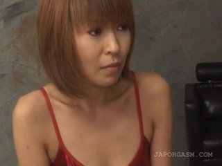Asian superb redhead sex doll strips undies erotically