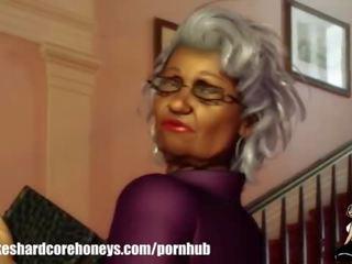 Ik geneukt mijn oma buur (big zwart bips)
