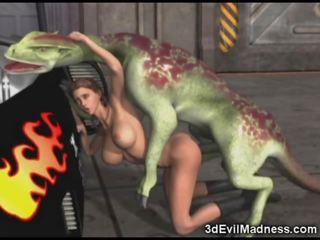 3d jente impaled av alien dragon