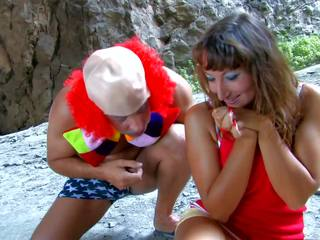 Busty Brunette Has Sex with Clown, Free Porn 6e