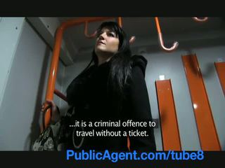 PublicAgent Penelope fucks on the trai...