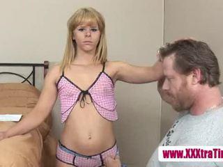 Hypnotized blonde teen sucks on cock