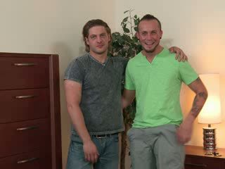 Str8 dude bromance sex, a hot Latino and a beefy blond muscle hunk.