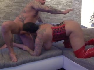 Big Titted Slut in Red Latex Fucked in the Ass: HD Porn f9