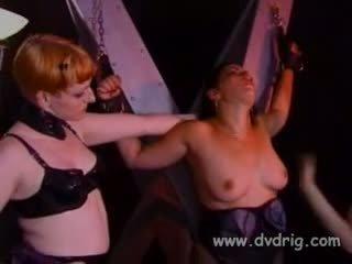 Chaud maîtresse lark et son helper michelle gabrielle lien jusqu'à insubordonate esclave sonja rouge à une traverser et spank son comme une pute elle est jusqu'à elle cries