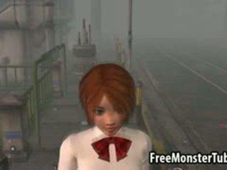 Sexy 3d roodharige babe geneukt outdoors door een zombie