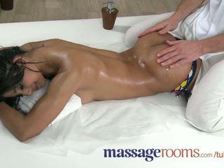Massage Rooms Petite dark skinned beauty has multiple orgasms before facial