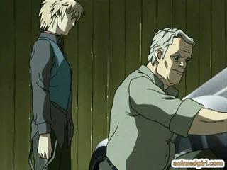 Ķēde hentai gets pakaļa injekcija un sprayed sūdi