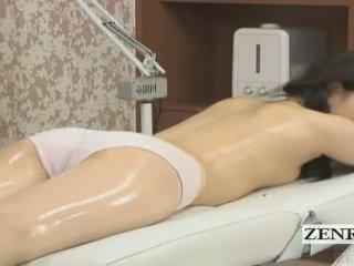 Subtitled japonez scolarita în primul rând senzual ulei masaj