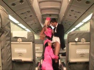 Two otäck stewardesses double teams en kuk