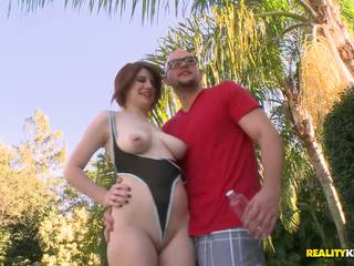 Mom gets owned right in the backyard by her raunchy husband