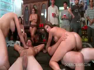 College sex party with pornstars riding horny dicks in group
