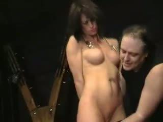 Kinky bdsm slave Danielas rough tit torments