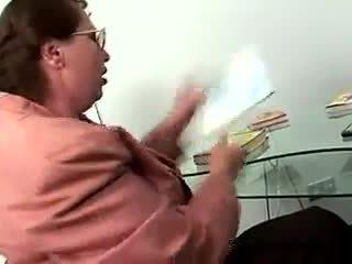 Two slim teens pass exam showing lesbian games to chubby mature teacher
