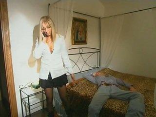 Blonde step-mom in stockings seducing son