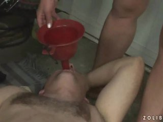 Extreme rough pissing threesome