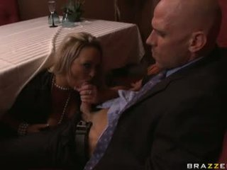 Carnal Chick Abbey Brooks Gets Her Mouth Filled With A Man Meat Sausage