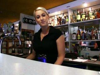 Barmaid Lenka pounded with a stranger