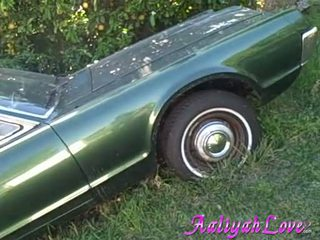 Aaliyah Love lascivious Babe like her green car