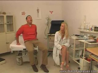 Blonde naughty doctor loves riding huge cocks