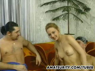 Amateur teen girlfriend sucks and fucks 2 guys