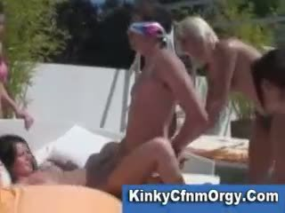 Reverse gangbang pie swimmingpool