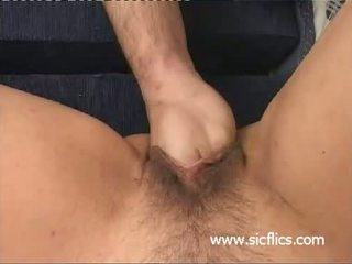 Busty blond milf brutally fist fucked in her cunt