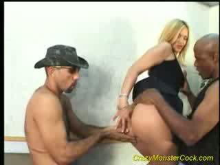 Blond babe gets huge hard cock