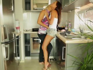 Jo Jo and Brandy Smile Lesbian Action In The Kichen Video