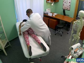 Tanned and slender girlfriend banged by a doctor.