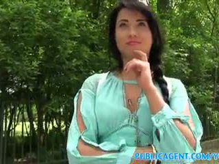 PublicAgent Sexy black haired russian fucked in the woods