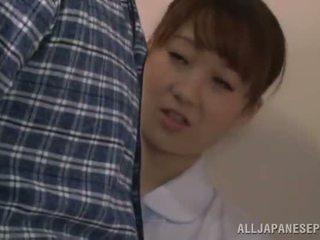 可愛 中國的 護士 gives 一 bj 在 一 restroom