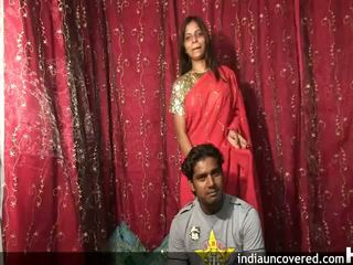 Beautiful indian couple strips and poses 1st time