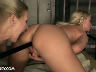 Old And Young Lesbian Love: Hot lesbians, Cynthia Moore and Kate, fucking in prison