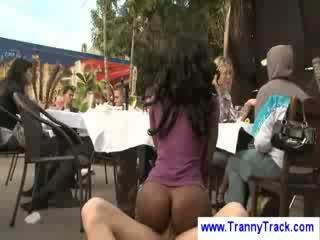 Public Lady Boy Threesome
