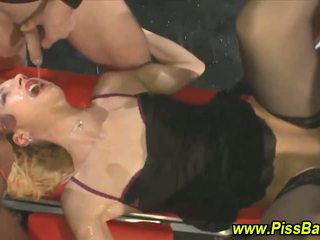 Fetish piss gargler gets rammed