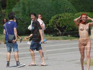 Super chaud exhibitionist filles exposing leur nu bodies en public
