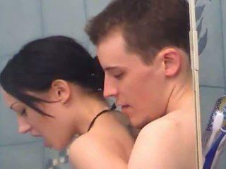 Sexy teen girl gets fingered under shower