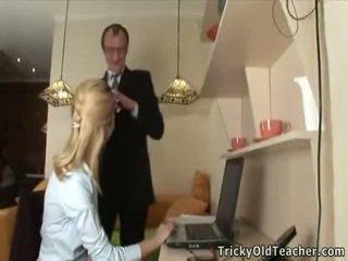 Katya Licks Her Tricky Teacher's Yonker Onto Webcam