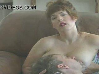 bröst, sugande, mjölk