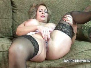 Mature slut Sandie Marquez plays with her Latina pussy