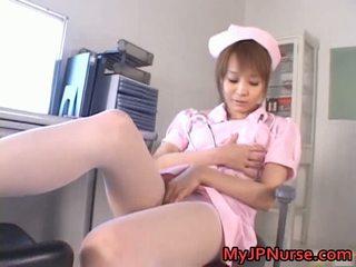 Φοβερό ασιάτης/ισσα νοσοκόμα has παιχνίδι penetration