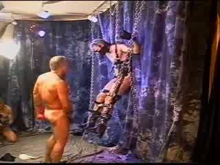 Ξανθός muscle παιδαράς είναι suspended ως αυτός gets του μπάλες bashed και szueezed.