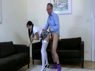 Euro chick wearing Panty Hose gets nailed Rough by old guy