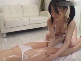 Teen JAP lesbian massage on the floor Video