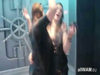 Brunettes In Wet Dirty Club Dance