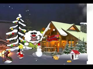 Santa claus enjoying zijn kerstmis presenteert