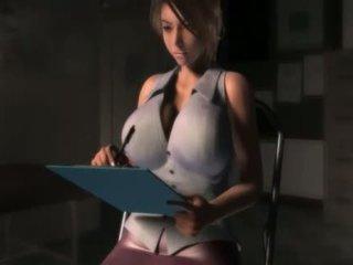 Seksuālā anime meitene uz liels krūtis blows a gigants dzimumloceklis