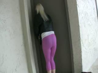 방뇨 핑크 스판덱스 레깅스